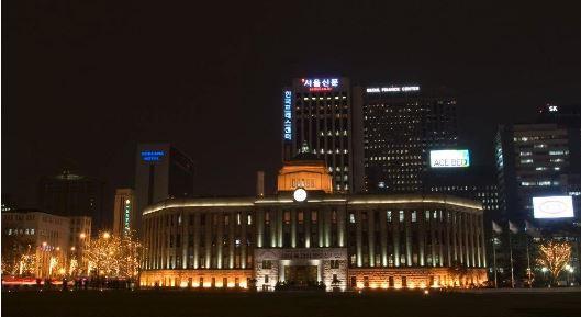 서울시청 야간 전경